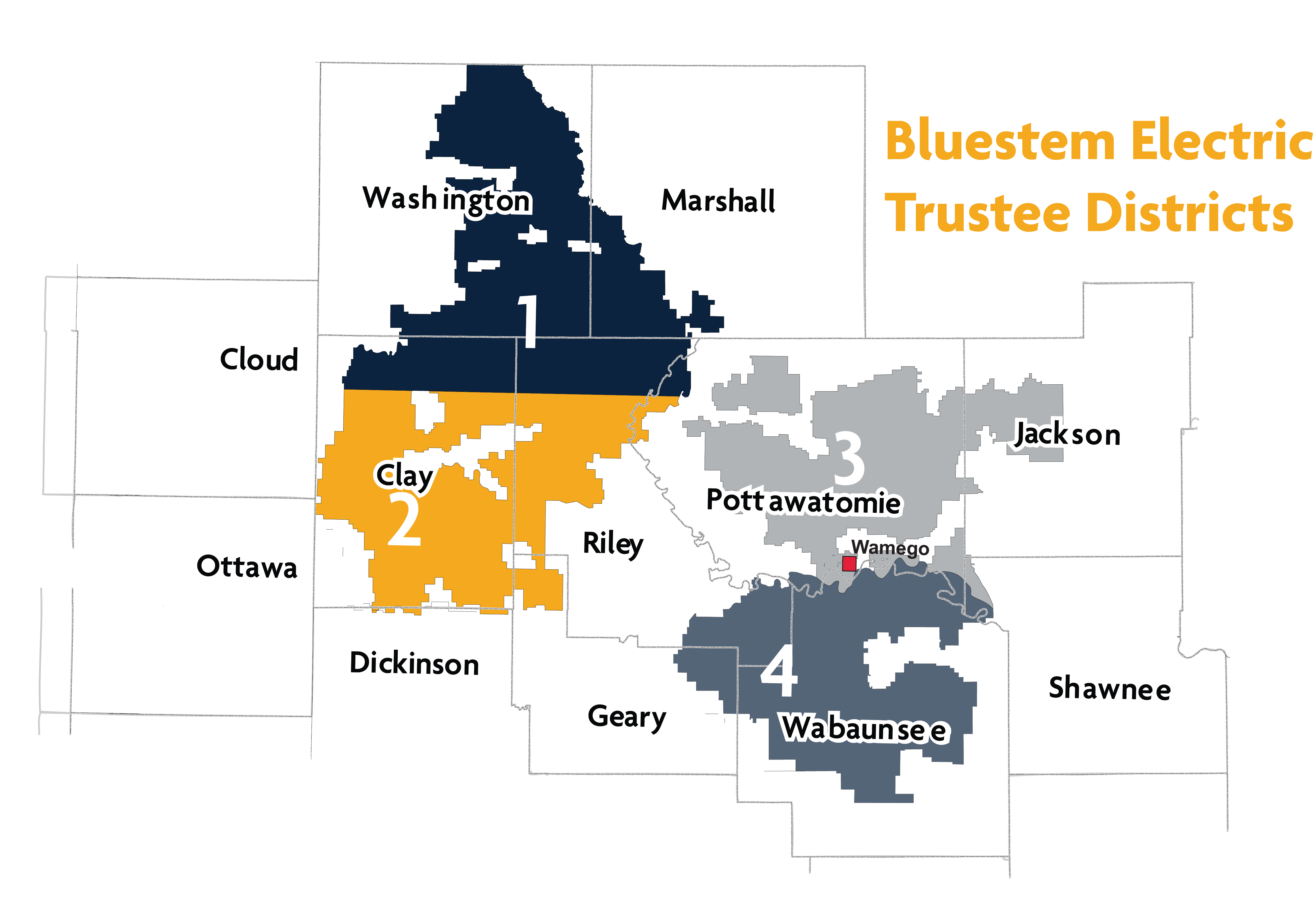 Bluestem Electric Cooperative Trustee Districts Map